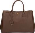 "Luxury Accessories:Bags, Prada Cacao Brown Saffiano Leather Lux Tote Bag. Very Good toExcellent Condition. 15"" Width x 10"" Height x 7""Depth..."