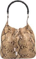 "Luxury Accessories:Bags, Gucci Natural Python & Black Bamboo Shoulder Bag. Very Goodto Excellent Condition. 12"" Width x 11"" Height x 1"" Depth. ..."