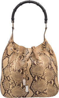 "Gucci Natural Python & Black Bamboo Shoulder Bag Very Good to Excellent Condition 12"" Width x 11"" Height x..."