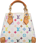 "Luxury Accessories:Bags, Louis Vuitton White Multicolore Monogram Canvas Audra Bag. Goodto Very Good Condition. 9.5"" Width x 8"" Height x 5.5""..."