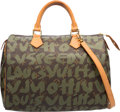 Luxury Accessories:Bags, Louis Vuitton Limited Edition Green Monogram Graffiti Canvas Speedy30 Bag by Stephen Sprouse. Very Good Condition. 12...