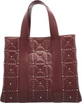 "Luxury Accessories:Bags, Alaia Red Leather Studded Tote Bag. Very Good Condition. 14""Width x 11.5"" Height x 6.5"" Depth. ..."
