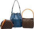 "Luxury Accessories:Bags, Louis Vuitton Set of Three; Classic Monogram Canvas & Blue EpiLeather Shoulder Bags. Very Good Condition. 10.5""Width... (Total: 3 Items)"