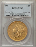 Liberty Double Eagles: , 1857 $20 XF45 PCGS. PCGS Population: (93/246). NGC Census: (79/400). Mintage 439,375. ...