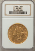 Liberty Double Eagles: , 1866 $20 Motto XF45 NGC. NGC Census: (93/467). PCGS Population: (50/292). Mintage 698,775. ...