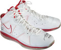 Basketball Collectibles:Others, 2010 LeBron James Game Worn Miami Heat Sneakers - Used 11/26 vs.76ers (UDA 1/1)....