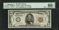 Fr. 2301 $5 1934 Mule Hawaii Federal Reserve Note. PMG Gem Uncirculated 66 EPQ
