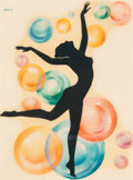 American, A Meyercord Decal Depicting Female Dancer with Bubbles. 7-1/2 x11-1/2 inches (19.1 x 29.3 cm) (sight). ...