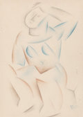 Fine Art - Work on Paper:Drawing, French School (20th Century). Cubist Nude, 1924. Coloredpencil on paper. 11-1/4 x 8 inches (28.6 x 20.3 cm) (sight). In...