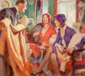 Mainstream Illustration, American Artist (20th Century). The Fabric Salesman. Oil oncanvas. 13.25 x 15 in.. Not signed. ...