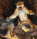 Mainstream Illustration, Mort Künstler (American, b. 1931). Attacking Jaguar in Cave,Men's Pictorial cover, August 1956. Mixed media on board. 1...