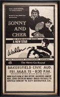 Music Memorabilia:Posters, Sonny And Cher Bakersfield Civic Auditorium Concert Poster(1968)....