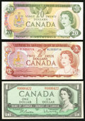 Canadian Currency: , Canada BC-37b $1 1954 Modified Portrait AU;. Canada BC-47a $2;.Canada BC-54c $20.. Extremely Fine-About Uncircula... (Total: 3notes)