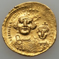 Ancients:Byzantine, Ancients: Heraclius (AD 610-641), with Heraclius Constantine (AD613-641). AV solidus (4.46 gm). XF....