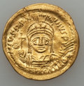 Ancients:Byzantine, Ancients: Justinian I the Great (AD 527-565). AV solidus (4.46 gm).XF, die shift, wavy flan....