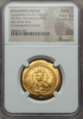 Ancients:Byzantine, Ancients: Constantine IX Monomachus (AD 1042-1055). AV histamenonnomisma (4.45 gm). NGC MS ★ 5/5 - 5/5....