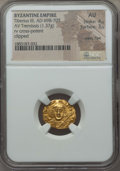 Ancients:Byzantine, Ancients: Tiberius III Apsimar (AD 608-705). AV tremissis (1.37 gm). NGC AU 4/5 - 3/5, clipped wavy flan....