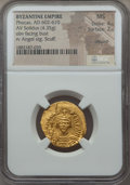 Ancients:Byzantine, Ancients: Phocas (AD 602-610). AV solidus (4.35 gm). NGC MS 4/5 -2/5, scuff, clipped....