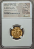 Ancients:Byzantine, Ancients: Heraclius (AD 610-641), with Heraclius Constantine andHeraclonas. AV solidus (4.36 gm). NGC AU 5/5 - 3/5, clipped...