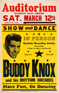 Music Memorabilia:Posters, Buddy Knox And His Rhythm Orchids Auditorium Concert Poster (1960).Rare....