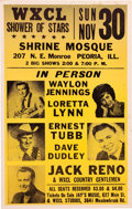 Music Memorabilia:Posters, Waylon Jennings/Loretta Lynn Shrine Mosque Concert Poster(WXCL,1969). Extremely Rare....