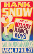 Music Memorabilia:Posters, Hank Snow And His Melody Ranch Boys Sault Memorial Gardens ConcertPoster (1959). Rare....
