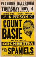 Music Memorabilia:Posters, Count Basie/Spaniels Playmor Ballroom Concert Poster (1954). Extremely Rare....