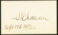 "Miscellaneous:Other, ""L.E. Chittenden Sept. 15th 1892"" Autographed Cut Rectangle.. ..."