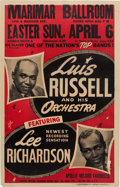 Music Memorabilia:Posters, Luis Russell Orchestra Marimar Ballroom Concert Poster (Joe GlaserPresents,1947). Extremely Rare....