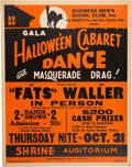 Music Memorabilia:Posters, Fats Waller Shrine Auditorium Concert Poster (Business Men's SocialClub In. Presents, 1941). Very Rare....