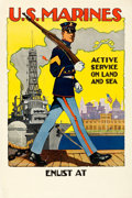 "Movie Posters:War, World War I Propaganda (U.S. Marines, 1917). Marine RecruitmentPoster (28"" X 42"") ""Active Service on Land and Sea."" Sidney ..."