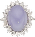 Estate Jewelry:Rings, Lavender Jadeite Jade, Diamond, White Gold Ring. ...