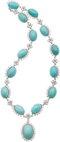 Estate Jewelry:Necklaces, Turquoise, Diamond, White Gold Necklace. ...