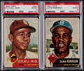 Baseball Cards:Lots, 1953 Topps Jackie Robinson & Satchell Paige PSA Graded Pair(2)....