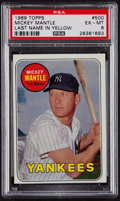 Baseball Cards:Singles (1960-1969), 1969 Topps Mickey Mantle (Yellow Letters) #500 PSA EX-MT 6....