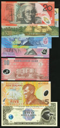 World Currency: , Polymer Notes and More from Australia, Bangladesh, Chatham IslandsFantasy Issue, New Zealand, Romania, Somoa, and Switzerland...(Total: 13 notes)