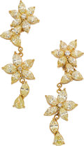 Estate Jewelry:Earrings, Fancy Yellow Diamond, Fancy Light Yellow Diamond, Gold Earrings. ... (Total: 2 Items)