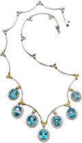 Estate Jewelry:Necklaces, Blue Zircon, Yellow Sapphire, Diamond, White Gold Necklace. ...