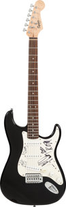 Musical Instruments:Electric Guitars, Korn Signed 2000's Fender Squire Bullet Stratocaster Black ElectricGuitar....