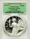 Modern Bullion Coins, 2016-S Medal American Liberty, First Strike, PR70 Deep Cameo PCGS, And a 2016-W Medal American Liberty, First Strike, P... (Total: 2 coins)