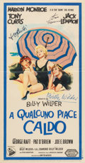"Movie/TV Memorabilia:Posters, A Tony Curtis, Jack Lemmon, and Billy Wilder Signed Italian Poster from ""Some Like It Hot.""..."