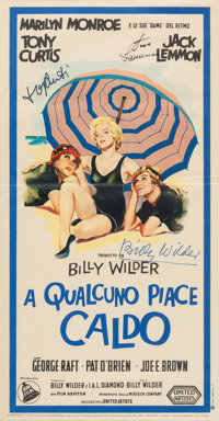 "A Tony Curtis, Jack Lemmon, and Billy Wilder Signed Italian Poster from ""Some Like It Hot."""