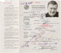 Movie/TV Memorabilia:Autographs and Signed Items, A John Wayne Twice-Signed Mexican Tourist ID Card, 1972....