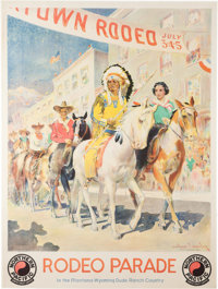 A Bruce Willis Owned Rodeo Parade/Northern Pacific Advertising Poster By Edward Vincent Brewer (1883-1971)