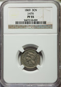 1869 3CN Three Cent Nickel, Judd-676, Pollock-753, 755, R.4, PR55 NGC. NGC Census: (2/20). PCGS Population: (1/39). ...(...