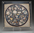 Asian:Chinese, A Chinese Embroidered Silk Roundel, Qing Dynasty, 19th century.12-1/2 inches high x 13-5/8 inches wide (31.8 x 34.6 cm) (ro...