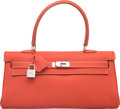Luxury Accessories:Bags, Hermes 42cm Sanguine Clemence Leather JPG Shoulder Kelly Bag with Palladium Hardware. O Square, 2011. Excellent Condition...