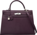 Luxury Accessories:Bags, Hermes 35cm Raisin Chevre Coromandel Leather Sellier Kelly Bag withPalladium Hardware. H Square, 2004. Excellent Cond...