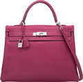 Luxury Accessories:Bags, Hermes Limited Edition Candy Collection 35cm Tosca & RoseTyrien Epsom Leather Retourne Kelly Bag with Palladium Hardware....