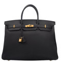 """Luxury Accessories:Bags, Hermes 40cm Black Clemence Leather Birkin Bag with Gold Hardware.P Square, 2012. Excellent Condition. 15.5"""" Width x 11"""" H..."""